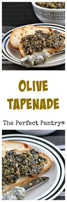 made with two or more types of olives, makes an exciting appetizer. From The Perfect Pantry.Tapenade, made with two or more types of olives, makes an exciting appetizer. From The Perfect Pantry. Appetizer Dips, Appetizers For Party, Appetizer Recipes, Snack Recipes, Cooking Recipes, Tapenade, I Love Food, Good Food, Yummy Food