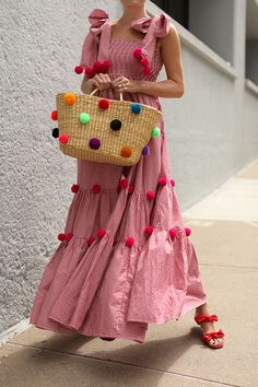 a41eafe2c1a8 Blair Eadie wears a red gingham dress with pom poms by SUNDRESS // Bag by