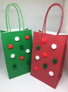 Red and green Pom Pom gift bags, set of four, 2 red, 2 green, with handle. Christmas Gift Bags, Christmas Gift Wrapping, Xmas Gifts, Christmas Crafts, Holiday Crafts For Kids, Gifts For Kids, Homemade Gift Bags, Decorated Gift Bags, Xmax