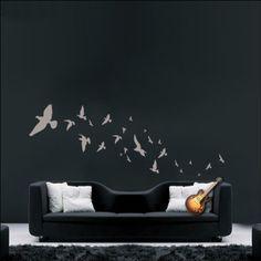 ABK Wall Art Flying Flock Of Birds Home Wall Sticker Art Decal - Dark Grey - Matt