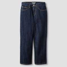 Boys' Relaxed Straight Fit Jean Cat & Jack Dark Wash 6, Boy's, Blue