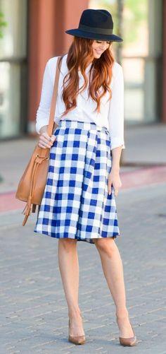 love this blue + white gingham skirt