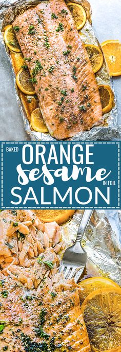 Baked Orange Sesame Salmon in Foil - is the perfect easy and healthy weeknight recipe. Best of all, the salmon is cooked to tender, flaky perfection in just 30 minutes with a flavorful orange sesame glaze.