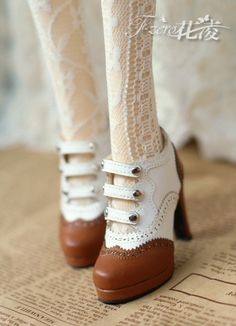 Ling [flower] SD16 / GR / ghost big female retro England spell color high heels BJD heels - Taobao