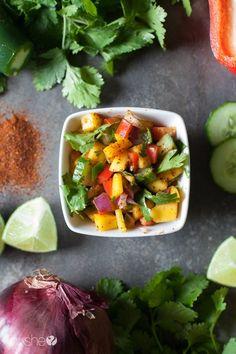 Simple fish tacos with mango salsa and avocado cream (2)