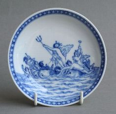 Antique Good Chinese export soft paste saucer with mythological scene, Qianlong