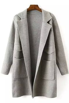 Solid Color Lapel Collar Long Sleeves Pocket Cardigan
