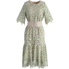 Chicwish Star A New Life Crochet Dress in Pastel Green (220 SAR) ❤ liked on Polyvore featuring dresses, green, white crochet dresses, vintage looking dresses, crochet dress, vintage style dresses and crochet corset