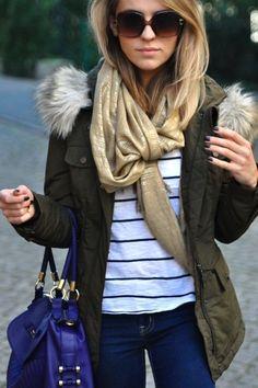 fur-olive drab, gold scarf, stripes, shades