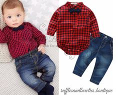 Pre Order - Baby Boys Buffalo Plaid Shirt and Matching Denim Jeans - Boys 2 pc Outfit - Buffalo Plaid Onesie - Bows Bow Tie set