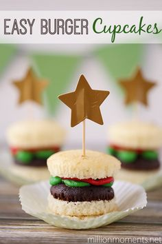 These easy burger cupcakes are great for parties and delicious too!