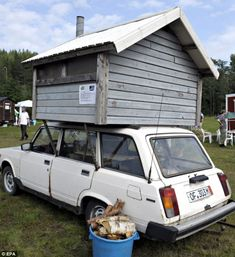 This old Lada car was converted into a shed-style sauna by its owner who displayed it at the rally in Finland