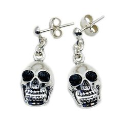 Volcanic Lava Rock & .925 Sterling Silver Skull by TheSilverPlaza