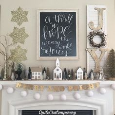 """Village houses amidst a forest of trees flocked in gold glitter & snow always bring an air of nostalgia from Christmas' past. """"A thrill of hope the weary world rejoices"""" by the talented @sabrynamichellecalligraphy sets the tone for this seasons mantel decor. I added a touch of whimsy with the hand-made banner Merry and Bright paired with beautiful snow ball garland. The hand-made antiqued JOY shutter with sweet pip berry and rusted star wreath tells me to find joy every day. The glittered…"""