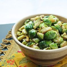 I Breathe... I'm Hungry...: Brussels Sprouts with Lemon and Pine Nuts - a delicious low carb side dish!
