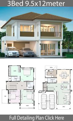 haus design House design plan with 3 bedrooms. Style ModernHouse description:Number of floors 2 storey housebedroom 3 roomstoilet 3 roomsmaid's room - room 2 Storey House Design, House Front Design, Modern House Design, Family House Plans, Dream House Plans, House Floor Plans, Villa Design, Bungalow Haus Design, Model House Plan