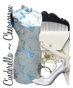 """""""Cinderella ~ Cheongsam"""" by liesle ❤ liked on Polyvore featuring Anna Sui, Dorothy Perkins, Disney, Stuart Weitzman, chinese, cheongsam and qipao"""