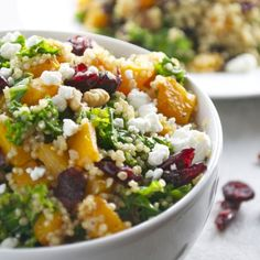 Butternut Squash Quinoa with Kale, Cranberries, Walnuts and Goat Cheese