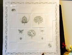 """Edinburgh Tile Studio's hand-painted Botanicals board from Marlborough tiles. seeing as we're close to Alcove Bathtub, Kitchen Tiles, Tile Backsplash, Hand Painted, Tiles, Backsplash, Countertops, Dream Kitchen, Marlborough Tiles"