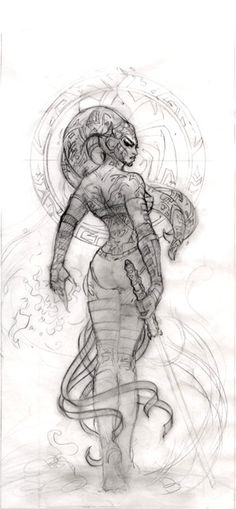 Darth Talon - Star Wars Miniatures: Legacy of the Force -- Work in progress sketch for the packaging art, by Teresa Neilsen
