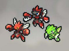 Scyther | Scizor | Mega Scizor | Pokemon | Perler Bead | 8bit | Nintendo…