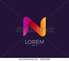 N Alphabet letter logo. Abstract Glossy Colorful logotype vector design template.