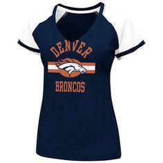 Denver Broncos Women's Go For Two V-Neck T-Shirt - Navy Blue