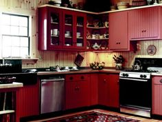 nice 64 Amazing Black and Red Kitchen Decor Ideas Suitable for You Who Loves Cooking Red Kitchen Cabinets, Red Kitchen Decor, Diy Kitchen, Kitchen Ideas, Kitchen Designs, Quirky Kitchen, Barn Kitchen, Rooster Kitchen, Primitive Kitchen
