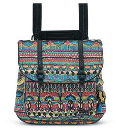Brighten up your day with the Convertible Backpack in our exclusive Radiant One World artist print. This fun, canvas backpack has a magnetic snap closure and adjusts from a backpack to a messenger bag!