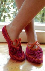 Really cute Slippers...pattern in the book, Fabulous and Flirty Crochet.