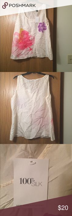 NWT New York & Company Tank Size XL! New with tags. 100% silk!  Cute creamy white colored floral print tank. New York & Company Tops Tank Tops
