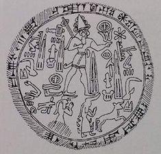 "The seal of Kuzi-Tešub, ""Great King, Hero of Carchemish"", son of Talmi-Tešub and a great-great-great-grandson of Šuppiluliuma I of Hatti. Kuzi-Tešub's descendants also ruled in the kingdom of Melid. Drawing of an impression on a clay sealing excavated at Lidar Höyük by J. D. Hawkins in M. Liverani (ed.), Neo-Assyrian Geography, Rome: Università di Roma 'La Sapienza', 1995"