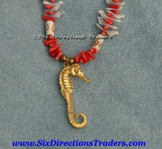 24K Gold Plated REAL Seahorse Necklace Red Coral Shell Birds | SixDirectionsTraders - Jewelry on ArtFire