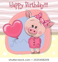 Illustration about Greeting card Cute Cartoon Pig girl with balloon. Illustration of balloons, mothers, drawing - 110012732 Happy Birthday Pig, Cute Cartoon Girl, Cartoon Pig, Pig Pics, Decorated Gift Bags, Its A Girl Balloons, Pig Drawing, Art Cart, Baby Illustration