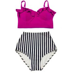 Maroon Burgundy Underwire Underwired Midkini Top and Stripe High... ($40) ❤ liked on Polyvore featuring swimwear, bikinis, grey, women's clothing, high-waisted bikini, high waisted retro bathing suits, underwire bra, bikini swimsuit and swimsuits two piece