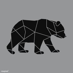 Linear illustration of a bear | premium image by rawpixel.com / poyd Geometric Shapes Design, Geometric Bear, Animal Outline, Outline Art, Bear Design, Animal Design, Diy Canvas Art, Canvas Ideas, Bear Vector