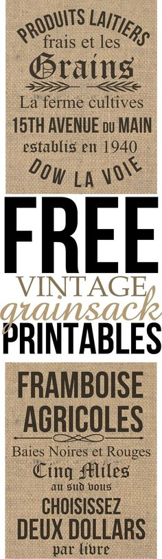 Free Vintage Grain sack Printables, perfect for your farmhouse inspired home on a budget. these were inspired by Johanna Gains from the HGTV show Fixer Upper. They will take you just minuets to download for your home decor and could be used in virtually