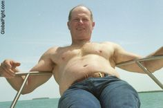 boating suntanning man bulge