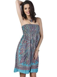 "YSJ Women's Beach Dress Tube Top Bohemia Tunic Midi Dress (Blue). High elastic band at bust for slim fit. Bohemia Floral, Tube Top, Loose Fit. Soft stretch floral print fabric. Knee Length Summer Sun Dress,Mini Dress, Sleeveless Holiday Dress. Size: Bust: 23.6""-40""(adjustable); Length: 29""."