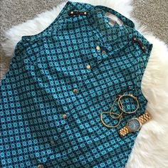 Michael Kors Blue Polka Dot Tank Sheer tank with brown detail on the shoulders. Worn a few times so there may be a couple of loose threads (from washing) but overall great condition. Can be worn so many different ways! Size XS MICHAEL Michael Kors Tops Tank Tops