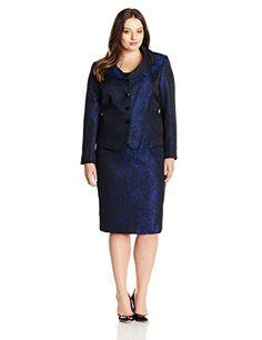 8ad7180adc77 Amazon.com: Tahari ASL Women's Plus-Size Tracy Skirt Suit, Black/Royal,  14W: Clothing