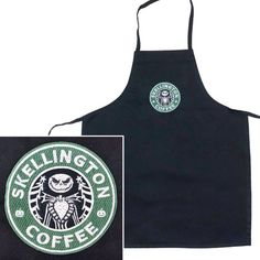 Brand of apron: KNG Print or design: Solid black with mock Starbucks logo of Jack Skellington Coffee from Disneys Nightmare Before Christmas in dark green and gray Materials: Heavy weight 100% Polyester apron & Polyester embroidery thread Size: Medium Length: 23 1/2 Width at highest