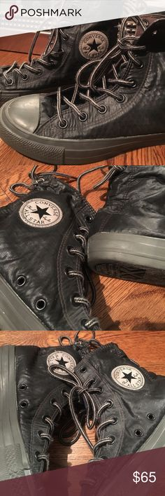 Limited Edition Gray Parachute-Material Converse No one has these high tops! Super cute and comfy! They are a charcoal color grey with a parachute-like material. Women's 8 Converse Shoes Sneakers