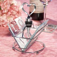 Show your guests some love with these unique LOVE design coaster and wine bottle stopper sets as your shower or wedding favors Wine Wedding Favors, Unique Wedding Favors, Unique Weddings, Wedding Ideas, Party Favors, Wedding Gifts, Wedding Planning, Shower Favors, Wedding Bells