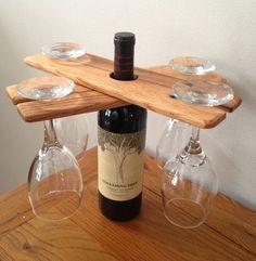 wood wine glass holder over a wine bottle - Bing Images