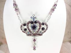 Crown Necklace Purple Rhinestone  Dramatic by VictoriannaCharmers, $22.00