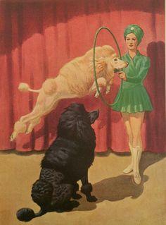 Vintage Poodle Illustration - Walter A. Weber - 1940s - Dog Tricks