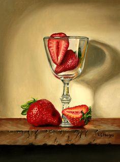strawberries wine glass, food art, strawberry art, signed, realism art, new art #Realism