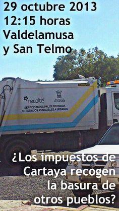 El 29 de octubre a las 12:15 estos camiones recogían basura y muebles en las aldeas serranas de Valdelamusa y San Telmo.  ¿A ésto dedican nuestros impuestos y los recibos que pagamos los cartayeros?  ¿¿¿¿A recoger la basura en otros pueblos de Huelva????  #CartayaEngañada