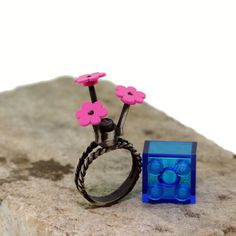 Lego Ring  Antiqued Silver  Lego Flowers  Hand Made  by UBrickIt, $75.00